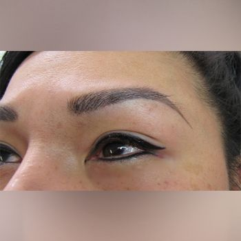 View of permanent eye liner